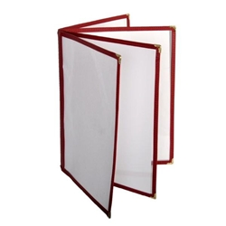 4 Page Book Fold Menu Cover, 216mm x 279mm / 8 1/2? x 11?, Maroon