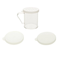 296ml x 10 oz Dredge with Handle, Polycarbonate 3 Snap-on Lids (Fine, Medium and Large Holes)