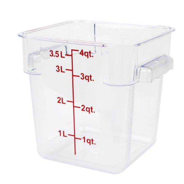 3.8Ltr / 4 qt (203mm x 181mm x 194mm) Square Food Storage Container, Polycarbonate
