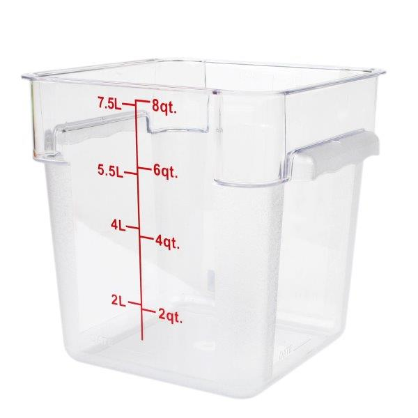 7.6Ltr / 8 qt (248mm x 222mm x 222mm) Square Food Storage Container, Polycarbonate