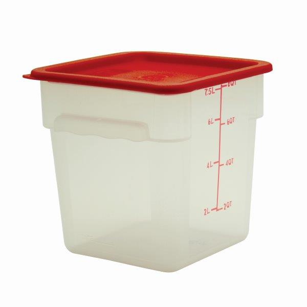 7.6Ltr / 8 qt (248mm x 222mm x 222mm) Square Food Storage Container, Polypropylene