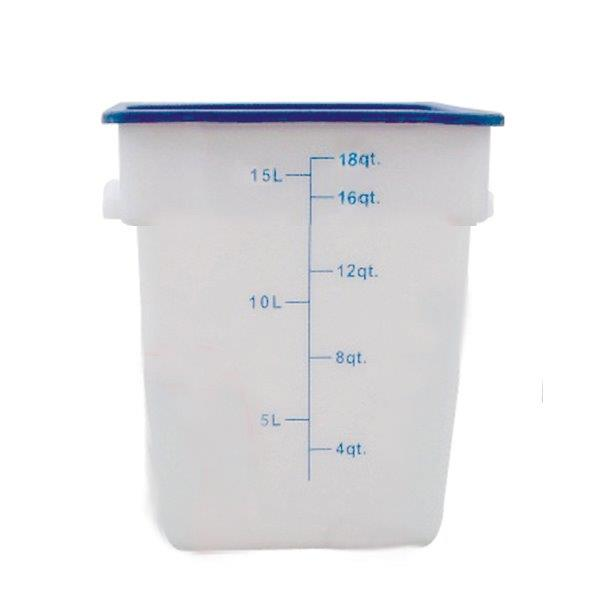 17Ltr / 18 qt (305mm x 279mm x 318mm) Square Food Storage Container, Polypropylene