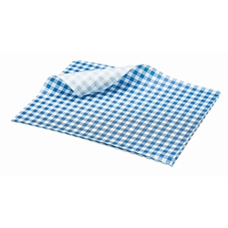 Greaseproof Paper Gingham Print Blue 25X20cm (Each) Greaseproof, Paper, Gingham, Print, Blue, 25X20cm, Nevilles