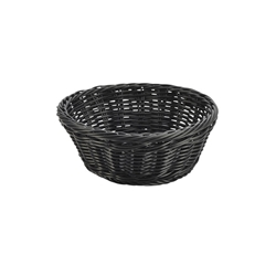 Black Round Polywicker Basket 21cm Diameter x 8cm High (Each) Black, Round, Polywicker, Basket, 21cm, Diameter, 8cm, High, Nevilles