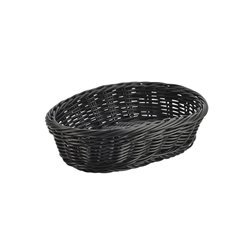Black Oval Polywicker Basket 22.5 x 15.5 x 6.5cm (Each) Black, Oval, Polywicker, Basket, 22.5, 15.5, 6.5cm, Nevilles