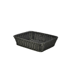 Polywicker Display Basket Black 36.5X29X9cm (Each) Polywicker, Display, Basket, Black, 36.5X29X9cm, Nevilles