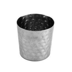 385ml / 13 oz, 100mm x 100mm / 3 3/8?x 3 3/8? Height French Fry Cup, Stainless Steel,  Hammered Finished