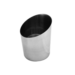 414ml / 14 oz, 107mm x 133mm / 3 5/8?x 4 1/2? Height  Angled French Fry Cup, Stainless Steel, Mirror Finished