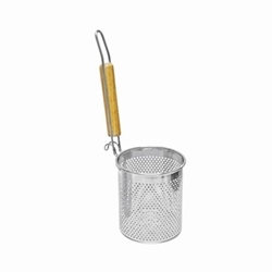 127mm X 135mm / 5? X 5 1/4? Flat Bottom Noodle Skimmer, Round, Stainless Steel w/ Wood Handle