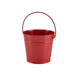 Stainless Steel Serving Bucket 16cm Diameter Red (Each) Stainless, Steel, Serving, Bucket, 16cm, Diameter, Red, Nevilles