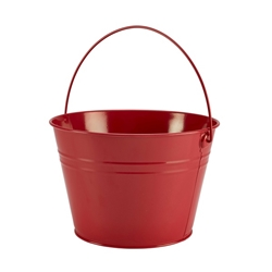 Stainless Steel Serving Bucket 25cm Diameter Red (Each) Stainless, Steel, Serving, Bucket, 25cm, Diameter, Red, Nevilles