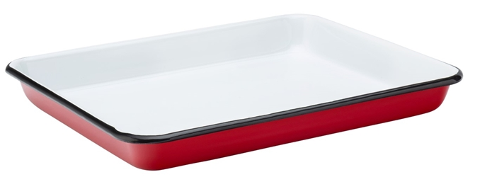 "Eagle Enamel Red Baking Tray 11"" / 28cm (6 Pack)"