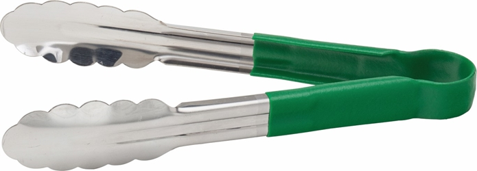 "Stainless Steel Serving Tongs 9.5"" / 24cm Green (each)"