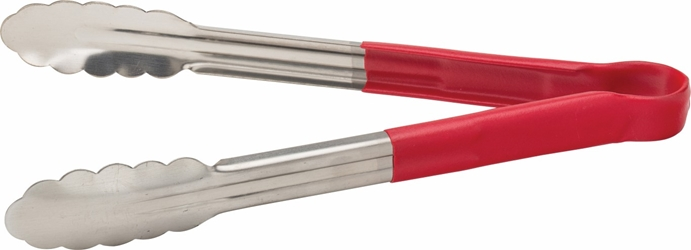 "Stainless Steel Serving Tongs 12"" / 30cm Red (each)"