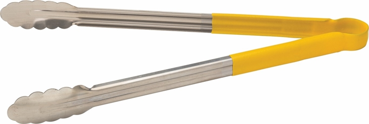 "Stainless Steel Serving Tongs 16"" / 40cm Yellow (each)"