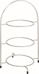 "Chrome 3 Tier Cake Plate Stand 16.5"" / 42cm - to hold 3 x 23cm Plates (each)"
