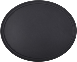 "Black Non Slip Tray Oval 27 x 22"" / 68.5 x 56.5cm (6 Pack)"