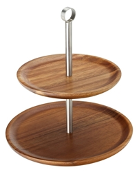 "2 Tiered Acacia Sharing Platter 9.75, 8.25"" / 25, 21cm (each)"