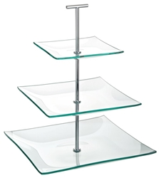 "Aura 3 Tiered Square Glass Plate 9.75, 8, 5.75"" / 24.5, 20, 14.5cm (each)"