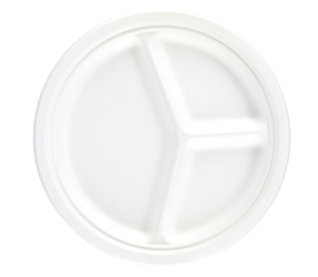 "10"" Bagasse 3 Compartment Round Plate (4 x 125 Pack)"
