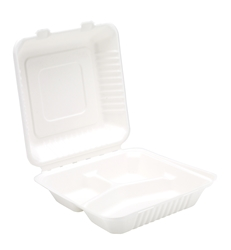 "9"" Bagasse 3 Compartment Meal Box (2 x 100 Pack)"