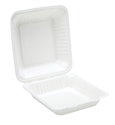 "9"" Bagasse Clamshell  Meal Box (2 x 100 Pack)"