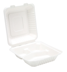 "8"" Bagasse 3 Compartment Meal Box (2 x 100 Pack)"