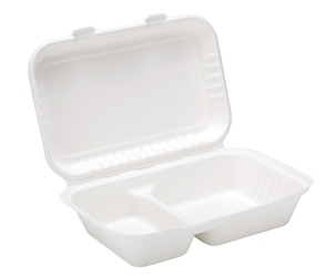 "9"" x 6"" Bagasse 2 Compartment Lunch Box (2 x 125 Pack)"