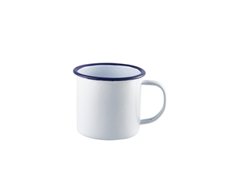 Enamel Mug White with Blue Rim 36cl/12.5oz (Each) Enamel, Mug, White, with, Blue, Rim, 36cl/12.5oz, Nevilles