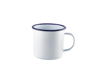 Enamel Mug White with Blue Rim 56.8cl/20oz (Each) Enamel, Mug, White, with, Blue, Rim, 56.8cl/20oz, Nevilles