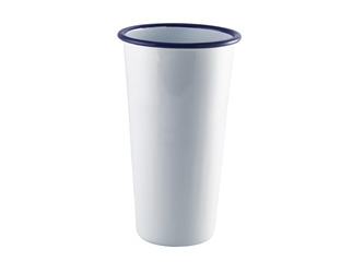 Enamel Tall Tumbler White with Blue Rim 40cl/14oz (Each) Enamel, Tall, Tumbler, White, with, Blue, Rim, 40cl/14oz, Nevilles