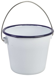 Enamel Bucket White with Blue Rim 10cm (Each) Enamel, Bucket, White, with, Blue, Rim, 10cm, Nevilles