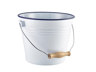 Enamel Bucket White with Blue Rim 16cm Diameter (Each) Enamel, Bucket, White, with, Blue, Rim, 16cm, Diameter, Nevilles