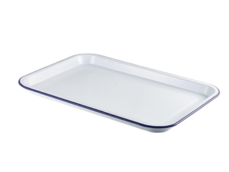Enamel Serving Tray White with Blue Rim 33.5x23.5x2.2cm (Each) Enamel, Serving, Tray, White, with, Blue, Rim, 33.5x23.5x2.2cm, Nevilles