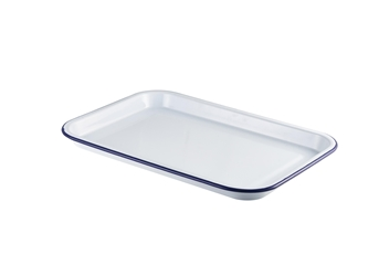 Enamel Serving Tray White with Blue Rim 38.2x26.4x2.2cm (Each) Enamel, Serving, Tray, White, with, Blue, Rim, 38.2x26.4x2.2cm, Nevilles