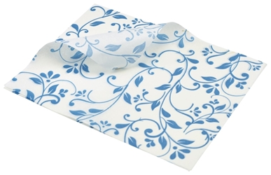 Greaseproof Paper Blue Floral Print 25 x 20cm (Each) Greaseproof, Paper, Blue, Floral, Print, 25, 20cm, Nevilles