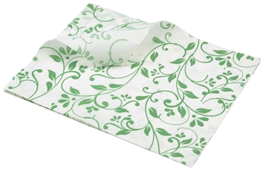 Greaseproof Paper Green Floral Print 25 x 20cm (Each) Greaseproof, Paper, Green, Floral, Print, 25, 20cm, Nevilles