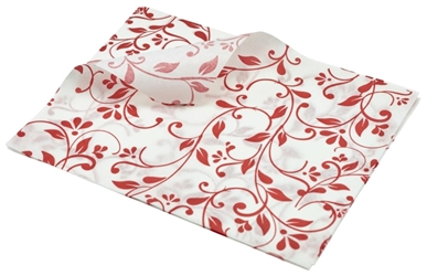 Greaseproof Paper Red Floral Print 25 x 20cm (Each) Greaseproof, Paper, Red, Floral, Print, 25, 20cm, Nevilles