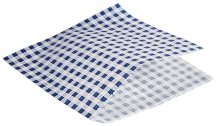Greaseproof Paper Bags Blue Gingham Print 17.5 x 17.5cm (Each) Greaseproof, Paper, Bags, Blue, Gingham, Print, 17.5, 17.5cm, Nevilles