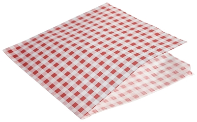 Greaseproof Paper Bags Red Gingham Print 17.5 x 17.5cm (Each) Greaseproof, Paper, Bags, Red, Gingham, Print, 17.5, 17.5cm, Nevilles