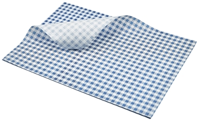 Greaseproof Paper Blue Gingham Print 35 x 25cm (Each) Greaseproof, Paper, Blue, Gingham, Print, 35, 25cm, Nevilles
