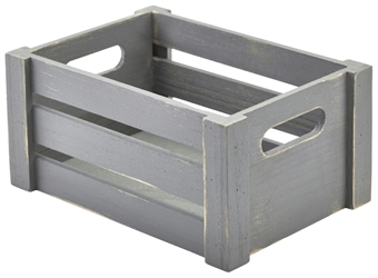 Wooden Crate Grey Finish 22.8x16.5x11cm (Each) Wooden, Crate, Grey, Finish, 22.8x16.5x11cm, Nevilles