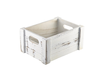 Wooden Crate White Wash Finish 22.8x16.5x11cm (Each) Wooden, Crate, White, Wash, Finish, 22.8x16.5x11cm, Nevilles