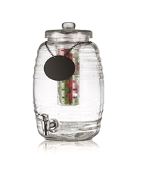 Beehive Collection Glass Beverage Dispenser (Inc Chalkboard Necklace) with Ice Core and Infuser
