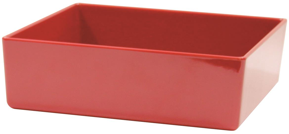 Contemporary Melamine Staight Sided Bowl Red (25.5x25.5x7.5cm) 4 Litre