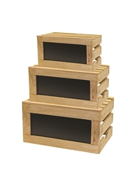 Rustic Risers Natural Wood Crate Set with Chalkboard. Small