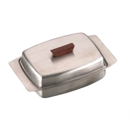 Butter Dish, St. Steel Lid With Wooden Knob