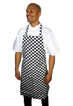 Bib Apron Black & White Check Large