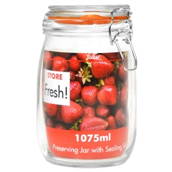 17 Cm Cliptop Glass Preserving Jar 1075Ml