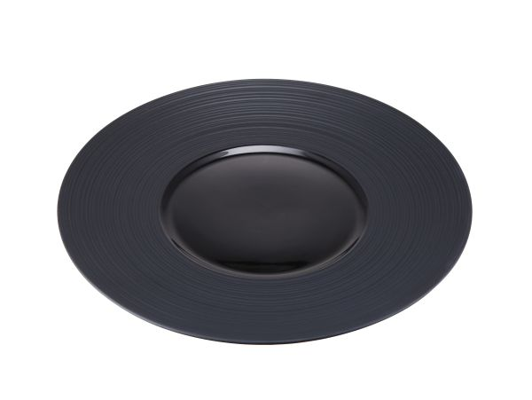 Contra Ribbed Black Round Plate 26Cm (3 Pack)